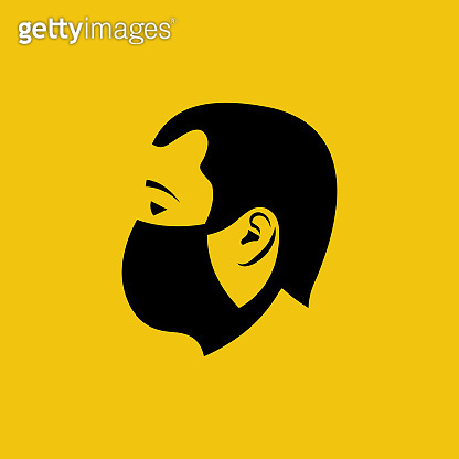 Black icon man in a medical mask. Face mask silhouette