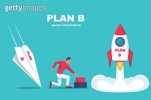 Launch of plan B. Business metaphor. Plan A and plan B