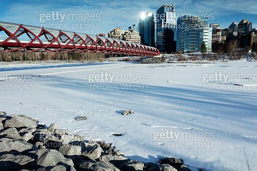Peace Bridge Calgary Alberts Skyline Winter
