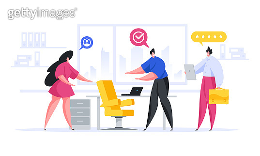 Modern employees showing workplace to recruit in office