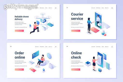 Set of banners for contemporary e commerce services