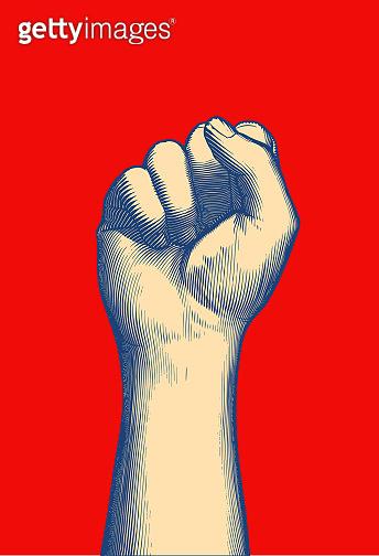 Retro engraving human fist wrist hand up illustration on red BG