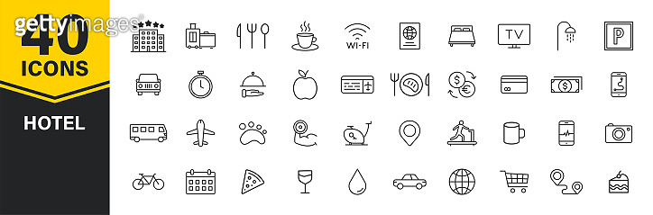 Set of 40 Hotel web icons in line style. Room, business, parking, travel, sleeping, comfortable. Vector illustration.