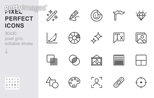 Photo edit line icon set. Image filter, add sticker, adjust curves, glow, heal minimal vector illustration. Simple outline signs for photography application ui. 30x30 Pixel Perfect. Editable Strokes