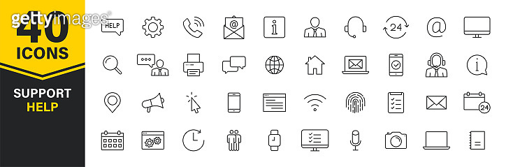 Set of 40 Support and Help web icons in line style. Assistance, email, customer, 24 hrs, service, contact. Vector illustration.