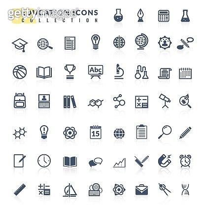 Education flat icons set. Set vector flat design icons education process school university students basic elementary study science creative courses