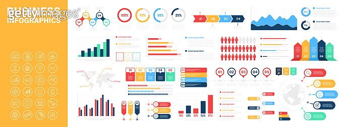 Big set of business infographics. Business icons. Elements marketing charts, steps, business processes, diagram, graphs, strategy, concept template. Vector illustration.