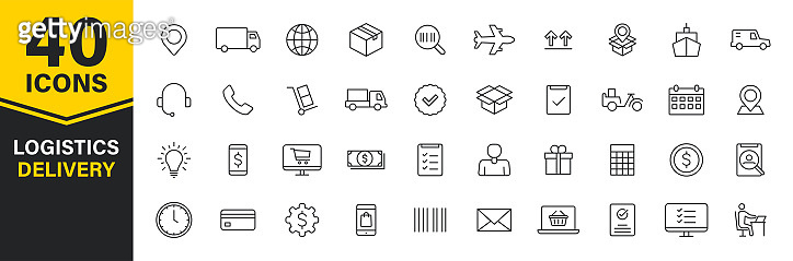 Set of 40 Delivery and logistics web icons in line style. Courier, shipping, express delivery, tracking order, support, business. Vector illustration.