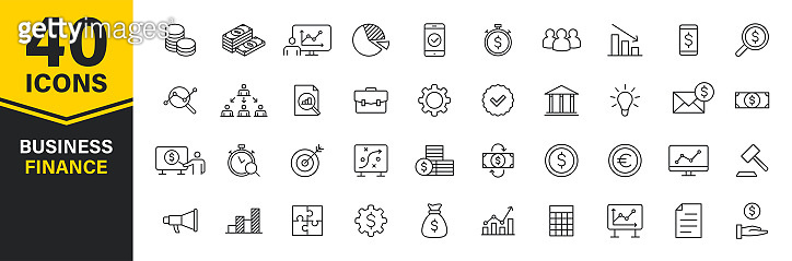 Set of 40 Business and Finance web icons in line style. Money, dollar, infographic, banking. Vector illustration.