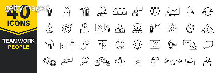 Set of 40 Teamwork web icons in line style. Team Work, people, support, business. Vector illustration.