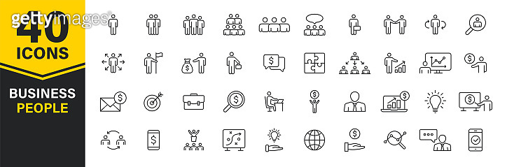 Set of 40 Business people and teamwork web icons in line style. Business, teamwork, leadership, manager. Vector illustration.