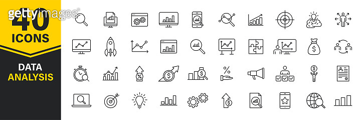 Set of 40 Data Analysis web icons in line style. Graphs, Analysis, Big Data, growth, chart, research. Vector illustration.