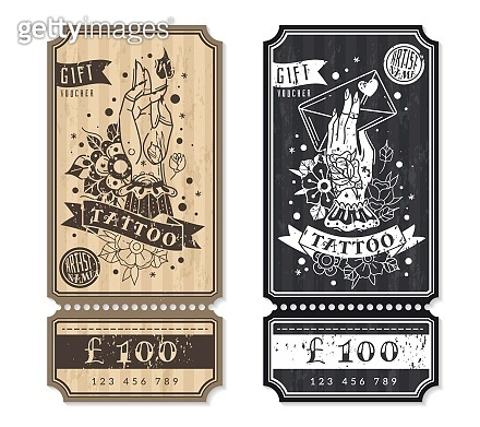 Old school traditional tattoo vertical flyers. Two vertical flyers, gift vouchers for tattoos. Tickets in retro style on the theme of traditional old school tattoo. Discount certificates. Vector illustration