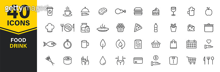Set of 40 Food and Drink web icons in line style. Coffe, water, eat, restaurant, fastfood. Vector illustration.