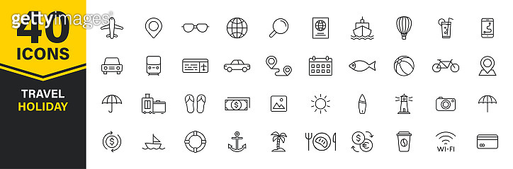 Set of 40 Travel and Holiday web icons in line style. Transport, Luggage, food, navigation, holiday. Vector illustration.