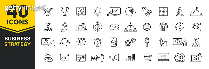 Set of 40 Business strategy web icons in line style. Startup, investment, financial, development, marketing, idea. Vector illustration.