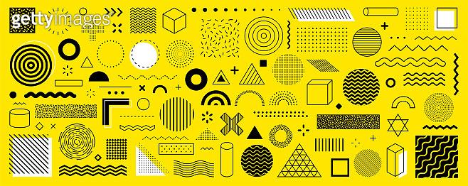 Set of 100 geometric shapes.