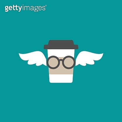 take-out coffee with cap, cup holder and wings and glasses. disposable cardboard cup of coffee.
