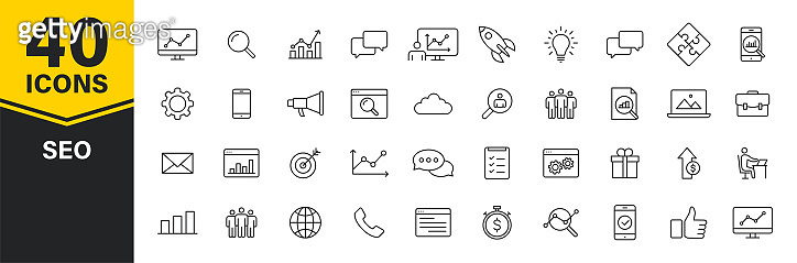 Set of 40 SEO and Development web icons in line style. Contact, Target, Website. Vector illustration.