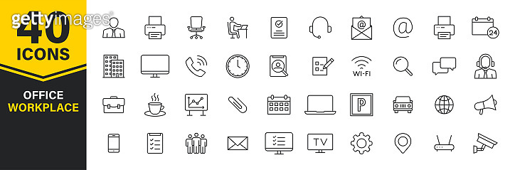 Set of 40 Office and workplace web icons in line style. Teamwork, workplace, coffee, work, business, employee. Vector illustration.