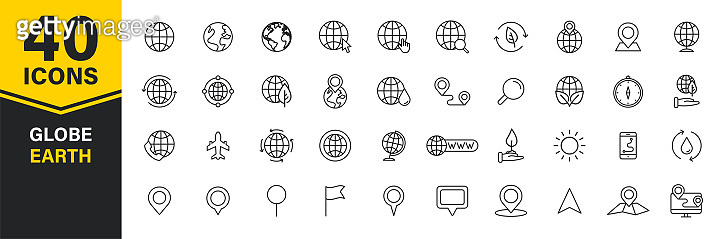 Set of 40 Globe and earth planet web icons in line style. Navigational Equipment, Planet Earth, Airplane, Map. Vector illustration.