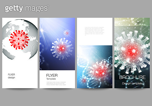 Vector layout of flyer, banner design template for website advertising design, vertical flyer, website decoration. 3d medical background of corona virus. Covid 19, coronavirus infection. Virus concept