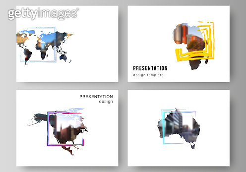 Vector layout of the presentation slides design business templates, multipurpose template for presentation brochure. Design template in the form of world maps and colored frames, insert your photo.