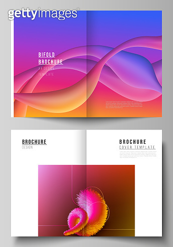 Vector layout of two A4 format modern cover mockups design templates for bifold brochure, flyer, booklet. Futuristic technology design, colorful backgrounds with fluid gradient shapes composition.