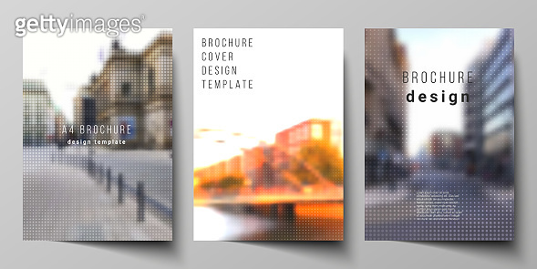 Vector layout of A4 cover mockups design templates for brochure, flyer, booklet, cover design, book design, brochure cover. Abstract halftone effect decoration with dots. Dotted pattern decoration.