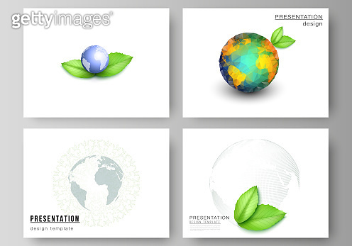 Vector layout of the presentation slides design business templates, multipurpose template for presentation brochure, brochure cover. Save Earth planet concept. Sustainable development global concept.