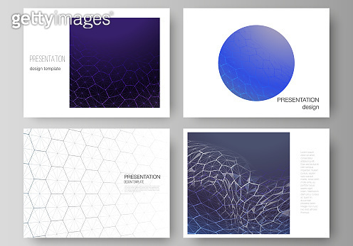 Vector layout of the presentation slides design business templates. Digital technology and big data concept with hexagons, connecting dots and lines, polygonal science medical background.