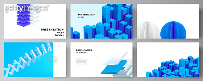 Vector layout of presentation slides design templates, template for presentation brochure, brochure cover, business report. 3d render vector composition with dynamic geometric blue shapes in motion.