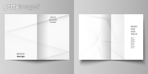 Vector layout of two A4 cover mockups design templates for bifold brochure, flyer, cover design, book design, brochure cover. Halftone effect decoration with dots. Dotted pop art pattern decoration.