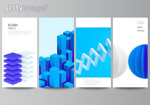 Vector layout of flyer, banner design templates for website advertising design, vertical flyer design, website decoration backgrounds. 3d render vector composition with dynamic geometric blue shapes.