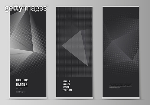 Vector layout of roll up mockup design templates for vertical flyers, flags design templates, banner stands, advertising design. Halftone dotted background with gray dots, abstract gradient background