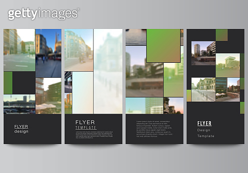 Vector layout of flyer, banner design templates for website advertising design, vertical flyer design, website decoration backgrounds. Abstract project with clipping mask green squares for your photo.