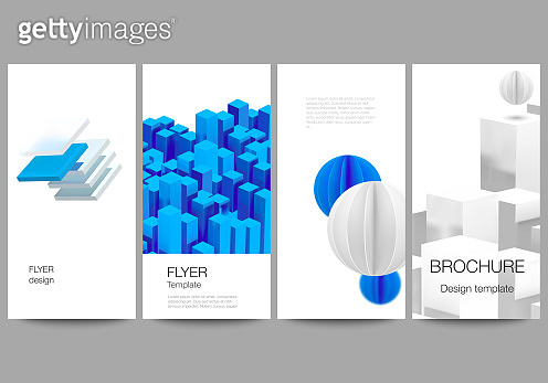 Vector layout of flyer, banner design templates for website advertising design, vertical flyer design, website decoration backgrounds. 3d render vector composition with dynamic geometric blue shapes.