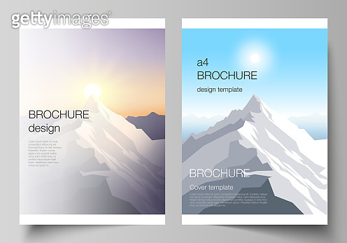 Vector layout of A4 format modern cover mockups design templates for brochure, magazine, flyer, booklet, report. Mountain illustration, outdoor adventure. Travel concept background. Flat design vector