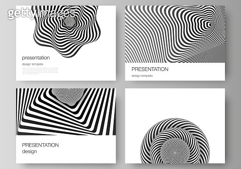 The minimalistic abstract vector layout of the presentation slides design business templates. Abstract 3D geometrical background with optical illusion black and white design pattern.