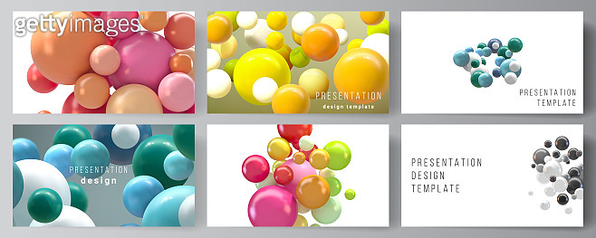 Vector layout of presentation slides design templates, multipurpose template for presentation brochure, business report. Abstract futuristic background with colorful 3d spheres, glossy bubbles, balls.