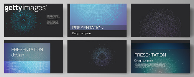 The minimalistic abstract vector illustration layout of the presentation slides design business templates. Big Data Visualization, geometric communication background with connected lines and dots.
