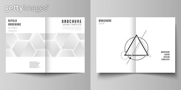 Vector layout of two A4 format modern cover mockups design templates for bifold brochure, magazine, flyer, booklet. Abstract geometric triangle design background using triangular style patterns.