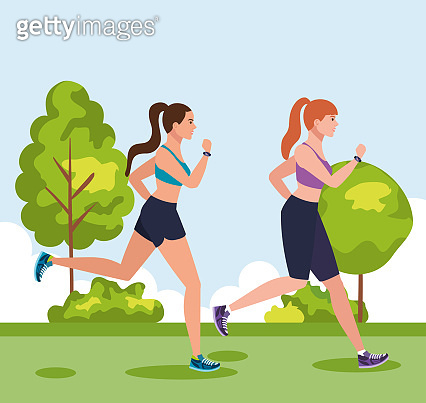 women jogging outdoor, women running in park, group women in sportswear jogging in nature