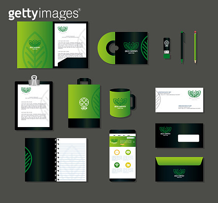 corporate identity brand mockup, smartphone and business icons green mockup, green company sign