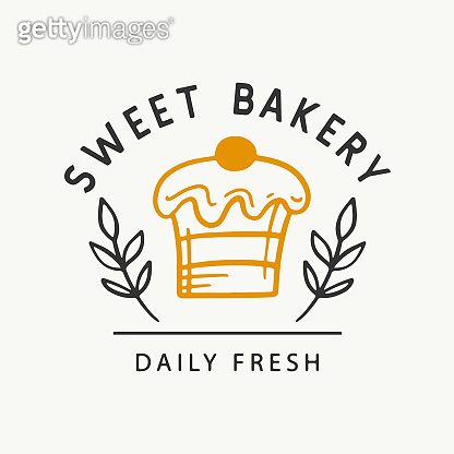 Sweet bakery logotype template, badge label