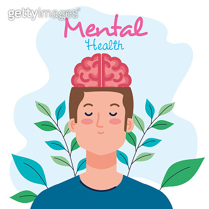 mental health concept, man with healthy mind