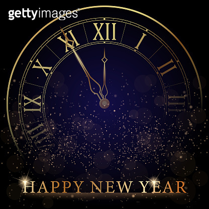 Golden Clock Dial with Roman Numbers on Magic Christmas Glitter Background. New Year Countdown and chimes. Five minutes before twelve. Vector