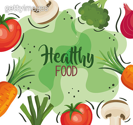 healthy food poster with frame of vegetables