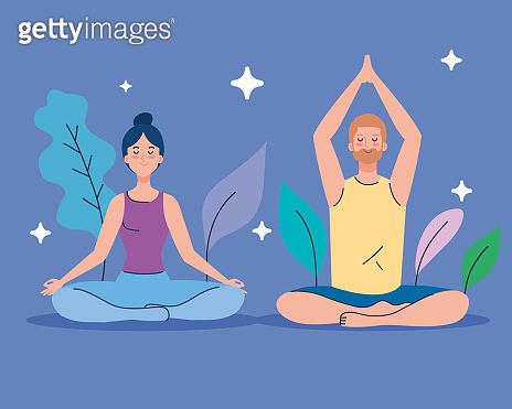 couple meditating in nature and leaves, concept for yoga, meditation, relax, healthy lifestyle