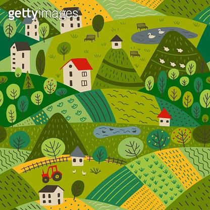seamless pattern of summer village landscape